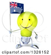 Clipart Of A 3d Happy Yellow Light Bulb Character Holding An Australian Flag Royalty Free Illustration