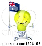 Clipart Of A 3d Happy Yellow Light Bulb Character Holding An Australian Flag And Giving A Thumb Up Royalty Free Illustration