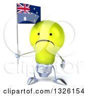 Clipart Of A 3d Unhappy Yellow Light Bulb Character Holding An Australian Flag Royalty Free Illustration