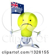 Clipart Of A 3d Unhappy Yellow Light Bulb Character Holding An Australian Flag And Giving A Thumb Down Royalty Free Illustration