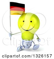 Clipart Of A 3d Happy Yellow Light Bulb Character Walking And Holding A German Flag Royalty Free Illustration