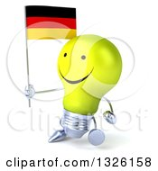 Clipart Of A 3d Happy Yellow Light Bulb Character Walking To The Left And Holding A German Flag Royalty Free Illustration