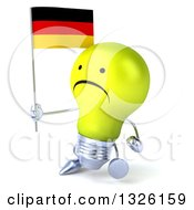 Clipart Of A 3d Unhappy Yellow Light Bulb Character Walking To The Left And Holding A German Flag Royalty Free Illustration