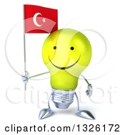 Clipart Of A 3d Happy Yellow Light Bulb Character Holding A Turkish Flag Royalty Free Illustration