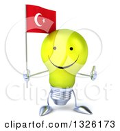 Clipart Of A 3d Happy Yellow Light Bulb Character Holding A Turkish Flag And Giving A Thumb Up Royalty Free Illustration