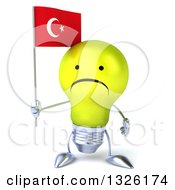 Clipart Of A 3d Unhappy Yellow Light Bulb Character Holding A Turkish Flag Royalty Free Illustration