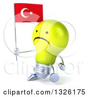 Clipart Of A 3d Unhappy Yellow Light Bulb Character Walking To The Left And Holding A Turkish Flag Royalty Free Illustration