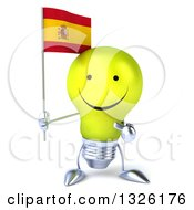 Clipart Of A 3d Happy Yellow Light Bulb Character Holding And Pointing To A Spanish Flag Royalty Free Illustration