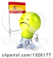 Clipart Of A 3d Unhappy Yellow Light Bulb Character Walking Slightly To The Left And Holding A Spanish Flag Royalty Free Illustration