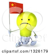 Clipart Of A 3d Unhappy Yellow Light Bulb Character Holding A Chinese Flag And Walking Royalty Free Illustration