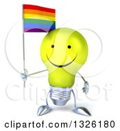 Clipart Of A 3d Happy Yellow Light Bulb Character Holding A Rainbow Flag Royalty Free Illustration