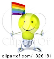 Clipart Of A 3d Happy Yellow Light Bulb Character Holding A Rainbow Flag And Giving A Thumb Up Royalty Free Illustration