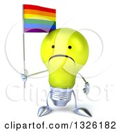 Clipart Of A 3d Unhappy Yellow Light Bulb Character Holding A Rainbow Flag Royalty Free Illustration