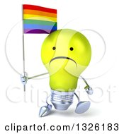Clipart Of A 3d Unhappy Yellow Light Bulb Character Holding A Rainbow Flag And Walking Royalty Free Illustration