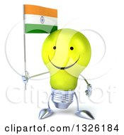 Clipart Of A 3d Happy Yellow Light Bulb Character Holding An Indian Flag Royalty Free Illustration