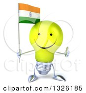 Clipart Of A 3d Happy Yellow Light Bulb Character Holding An Indian Flag And Giving A Thumb Up Royalty Free Illustration