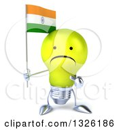 Clipart Of A 3d Unhappy Yellow Light Bulb Character Holding And Pointing To An Indian Flag Royalty Free Illustration
