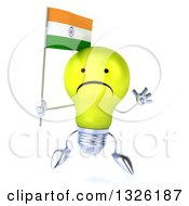 Clipart Of A 3d Unhappy Yellow Light Bulb Character Jumping And Holding An Indian Flag Royalty Free Illustration