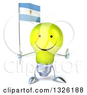Clipart Of A 3d Happy Yellow Light Bulb Character Holding An Argentine Flag And Thumb Up Royalty Free Illustration