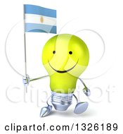 Clipart Of A 3d Happy Yellow Light Bulb Character Walking And Holding An Argentine Flag Royalty Free Illustration