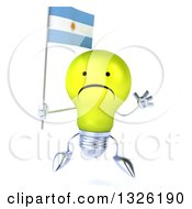 Clipart Of A 3d Unhappy Yellow Light Bulb Character Holding An Argentine Flag And Jumping Royalty Free Illustration