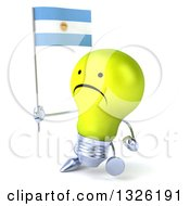 Clipart Of A 3d Unhappy Yellow Light Bulb Character Holding An Argentine Flag And Walking Royalty Free Illustration