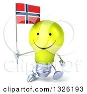 Clipart Of A 3d Happy Yellow Light Bulb Character Holding A Norwegian Flag And Walking Royalty Free Illustration