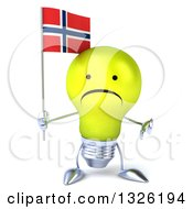 Clipart Of A 3d Unhappy Yellow Light Bulb Character Holding A Norwegian Flag And Giving A Thumb Down Royalty Free Illustration