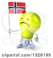Clipart Of A 3d Unhappy Yellow Light Bulb Character Holding A Norwegian Flag And Walking To The Left Royalty Free Illustration