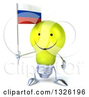 Clipart Of A 3d Happy Yellow Light Bulb Character Holding A Russian Flag Royalty Free Illustration
