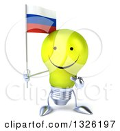 Clipart Of A 3d Happy Yellow Light Bulb Character Holding And Pointing To A Russian Flag Royalty Free Illustration