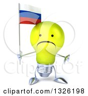 Clipart Of A 3d Unhappy Yellow Light Bulb Character Holding A Russian Flag And Giving A Thumb Down Royalty Free Illustration