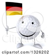 Clipart Of A 3d Happy Golf Ball Character Holding A German Flag Royalty Free Illustration