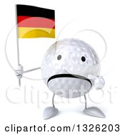 Clipart Of A 3d Unhappy Golf Ball Character Holding And Pointing To A German Flag Royalty Free Illustration
