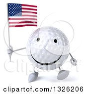 Clipart Of A 3d Happy Golf Ball Character Holding An American Flag And Walking Royalty Free Illustration