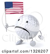 Clipart Of A 3d Unhappy Golf Ball Character Holding An American Flag And Walking To The Left Royalty Free Illustration