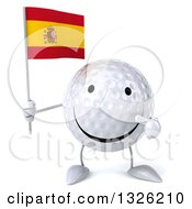 Clipart Of A 3d Happy Golf Ball Character Holding And Pointing To A A Spanish Flag Royalty Free Illustration