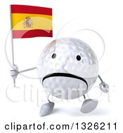 Clipart Of A 3d Unhappy Golf Ball Character Walking And Holding A Spanish Flag Royalty Free Illustration