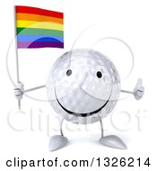 Clipart Of A 3d Happy Golf Ball Character Holding A Rainbow Flag And Giving A Thumb Up Royalty Free Illustration
