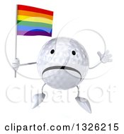 Clipart Of A 3d Unhappy Golf Ball Character Holding A Rainbow Flag And Jumping Royalty Free Illustration