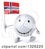 Clipart Of A 3d Happy Golf Ball Character Walking And Holding A Norwegian Flag Royalty Free Illustration
