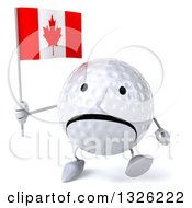 Clipart Of A 3d Unhappy Golf Ball Character Walking And Holding A Canadian Flag Royalty Free Illustration