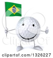 Clipart Of A 3d Happy Golf Ball Character Holding A Brazilian Flag And Giving A Thumb Up Royalty Free Illustration