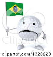Clipart Of A 3d Unhappy Golf Ball Character Holding A Brazilian Flag Royalty Free Illustration
