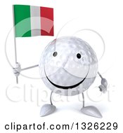 Clipart Of A 3d Happy Golf Ball Character Holding An Italian Flag Royalty Free Illustration