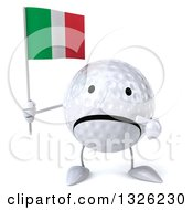 Clipart Of A 3d Unhappy Golf Ball Character Holding And Pointing To An Italian Flag Royalty Free Illustration