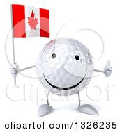 Clipart Of A 3d Happy Golf Ball Character Holding A Canadian Flag And Giving A Thumb Up Royalty Free Illustration