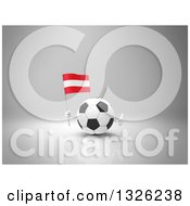Clipart Of A 3d Soccer Ball Character Holding An Austrian Flag And Giving A Thumb Up Over Gray 2 Royalty Free Illustration