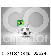 Clipart Of A 3d Soccer Ball Character Holding A Brazilian Flag And Giving A Thumb Up On Gray Royalty Free Illustration