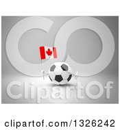 Clipart Of A 3d Soccer Ball Character Giving A Thumb Up And Holding A Canadian Flag On Gray Royalty Free Illustration